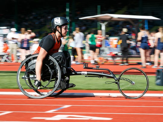 Willamina's Owen Baker competes in the 1500 meter para-athlete