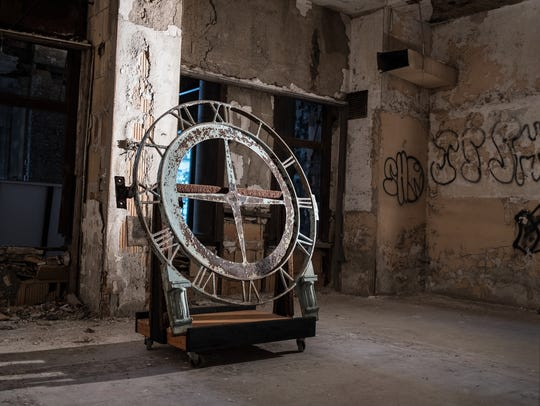 A clock from Michigan Central Station is on display