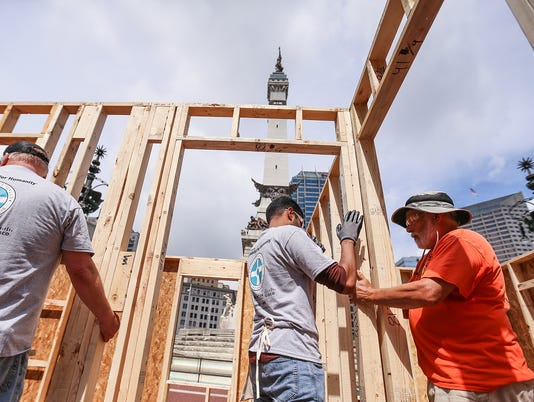 Inaugural Habitat for Humanity house build on Monument Circle in downtown Indianapolis