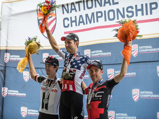 Brent Bookwalter, right, placed third in the USA Cycling Time Trial National Championships June 21, 2018, in Knoxville, Tennessee. Joseph Rosskopf won gold, and Chad Haga took second.