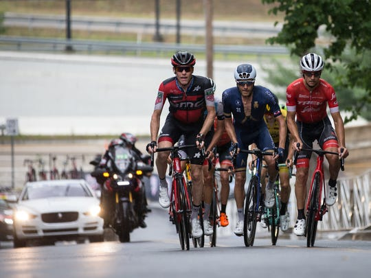 Brent Bookwalter, left, competes in the USA Cycling National Championships. He placed seventh in the Road Race on June 24, 2018, in Knoxville, Tennessee.