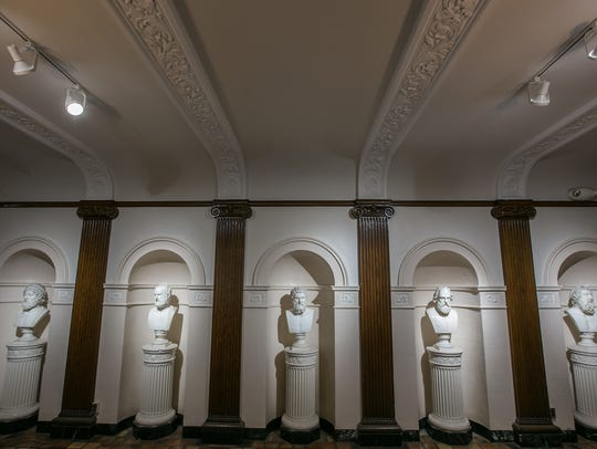 Busts of Greek philosophers line the entrance to Fordson