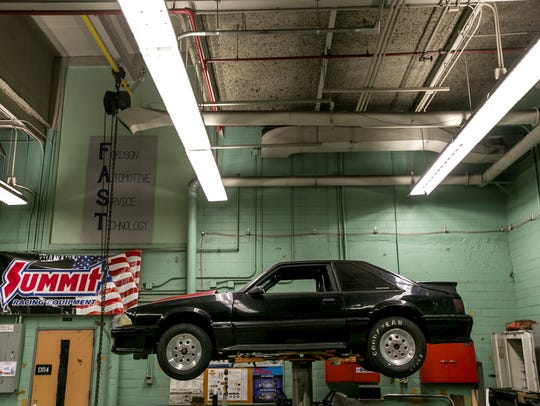 The automotive shop inside Fordson High School in Dearborn.