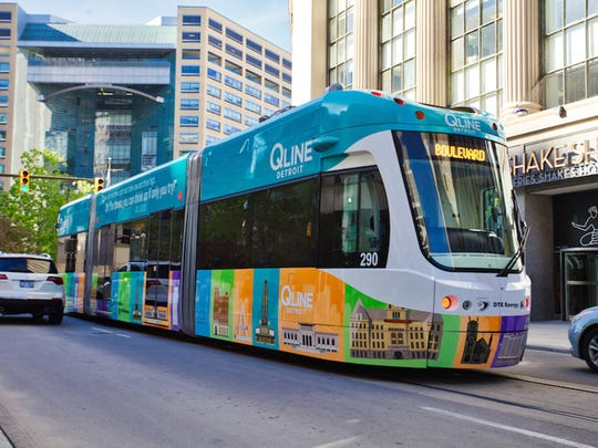 The QLine, a light-rail system along Woodward Avenue,