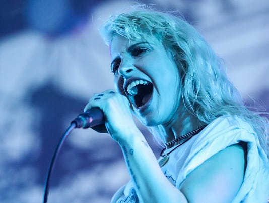 Hayley Williams of Paramore performs at the Farm Bureau Insurance Lawn at White River State Park
