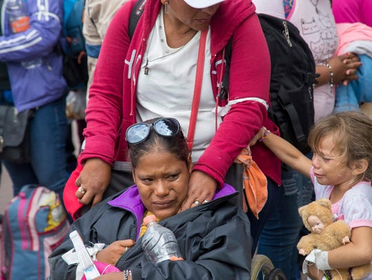 Central American part of the migrant caravan group,