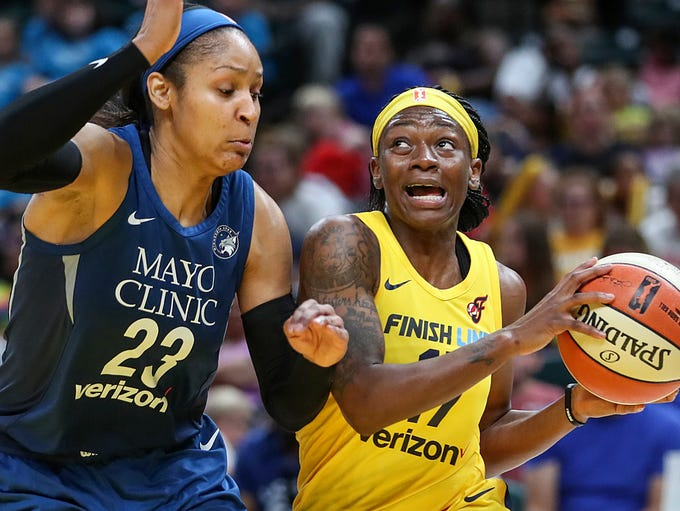Minnesota Lynx forward Maya Moore (23) guards Indiana