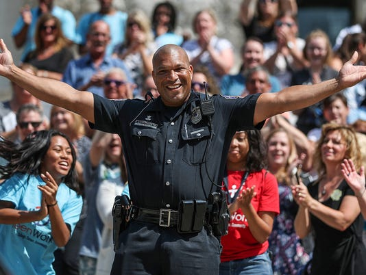 "IMPD films lip sync battle to ""Can't Stop the Feeling!"" by Justin Timberlake on Monument Circle, Thursday, July 12, 2018"