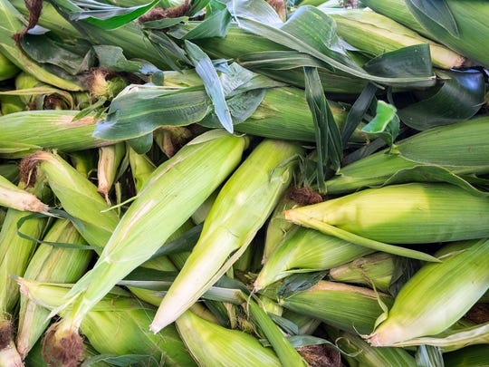 Ears of corn on display Tuesday, July 17, 2018 at  Huletts Farm Market. Sweet corn season has started, and the vegetable is showing up in area farmers markets.