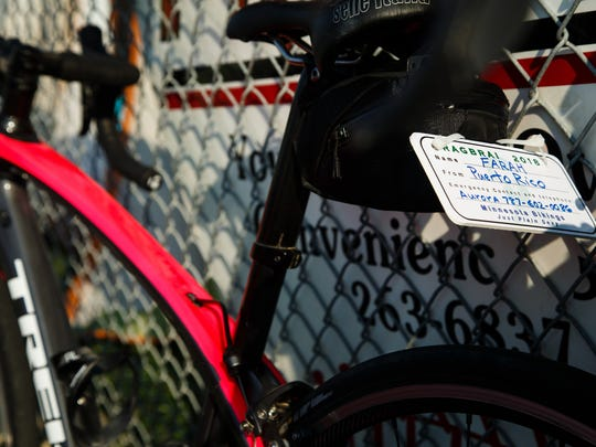 Farah Ramirez's bike and license plate stand next to