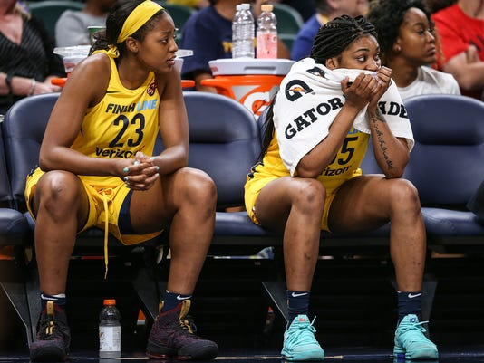 Indiana Fever forward Stephanie Mavunga (23) and guard Victoria Vivians (35) at Banker's Life Fieldhouse in Indianapolis, June 12, 2018