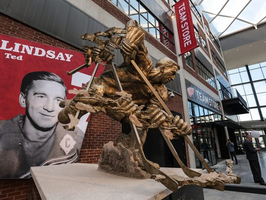 A statue of former Detroit Red Wings player Ted Lindsay is seen on display in the concourse at Little Caesars Arena in downtown Detroit on Wednesday, Sept. 6, 2017.