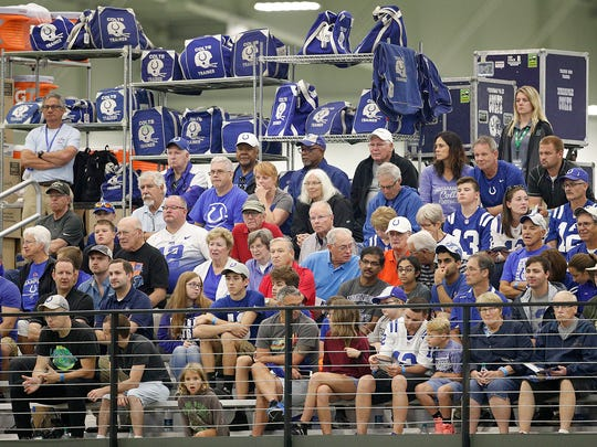 Indianapolis Colts fans watch during their sixth day of training camp at Grand Park in Westfield on Wednesday, August 1, 2018.