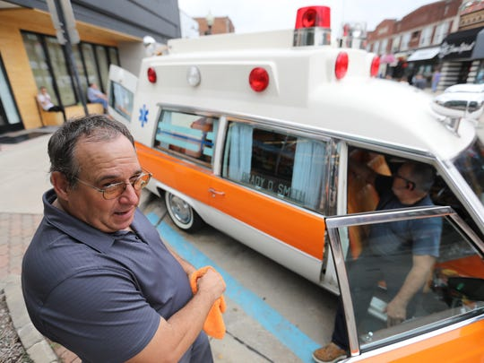 "Twin brothers William and Robert Koryciak started their careers out as public safety officers 40 years ago in a 1977 Miller Meteor ""Lifeliner"" Ambulance like this one they drove to the 2018 Professional Car Society International Meet in downtown Ferndale on Friday, Aug. 17, 2018."