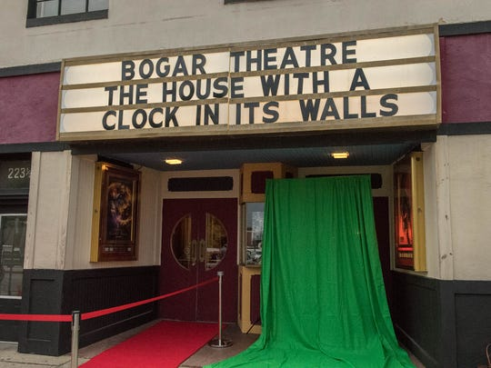 """Red carpet awaits moviegoers before the premiere of the """"The House with a Clock in its Walls"""" at the Bogar Theater in Marshall Thursday evening."""