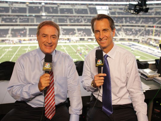 """Emmy-winning analyst Cris Collinsworth joined Al Michaels on NBC's """"Sunday Night Football"""" in 2009 after John Madden retired."""
