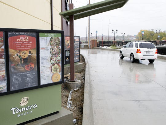 Panera's drive-through is seen in Coralville on Tuesday, Oct. 15, 2014. The location is set to open to the public on Thursday.  David Scrivner / Iowa City Press-Citizen