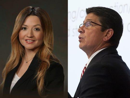 Tulare Mayor David Macedo, right, and Maritsa Castellanoz,