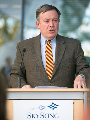 ASU President Michael Crow speaks at the grand opening celebration of SkySong 3 in Scottsdale on Tuesday, January 13, 2015.
