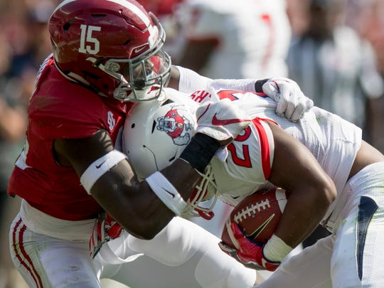 Ronnie Harrison (15) finished the season tied with Alabama senior linebacker Rashaan Evans for first on the team in total tackles with 74.