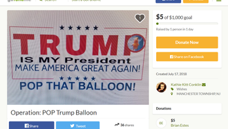 An Ocean County woman has vowed to pop the viral Trump baby balloon when it comes to New Jersey.