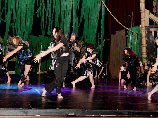 "Dancers rehearse for The Wichita Theatre's next performance, ""Tarzan: The Musical,"" which runs Fridays and Saturdays through Feb. 24."