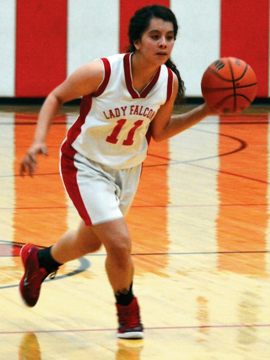 Matt Hollinshead — Current-Argus 2015 Loving girls basketball graduate Samantha Franco finds open space in the post in the fourth quarter Friday, Feb. 20 against Dexter. Franco will play basketball at University of the Southwest in Hobbs.