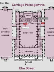 The 1879 floor plan of Music Hall, showing newly discovered