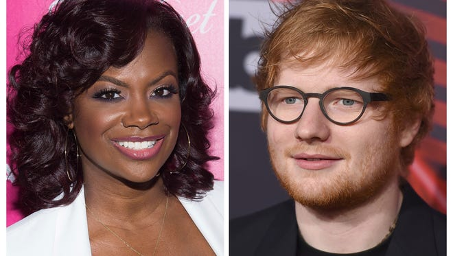 """FILE - In this combination photo, musician, songwriter and TV personality Kandi Burruss, left, appears at the OK! Magazine's So Sexy Party in June 1, 2016 in New York and musician Ed Sheeran appears at the iHeartRadio Music Awards on March 5, 2017, in Inglewood, Calif. On the website for performance rights organization ASCAP, Burruss, Tameka Cottle and Kevin Briggs have been added as co-writers of """"Shape of You,"""" co-written by Sheeran, Steve Mac and John McDaid. Burruss, also a reality star on Bravo's """"The Real Housewives of Atlanta,"""" posted about the news Sunday, March 19, 2017, on her Instagram page. (Photos by Charles Sykes and Jordan Strauss/Invision/AP, File)"""