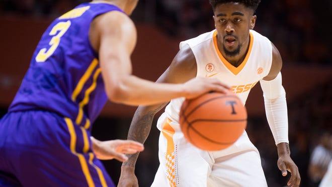 Tennessee guard Jordan Bone (0) defends LSU guard Tremont Waters (3) during Tennessee's home basketball game against LSU at Thompson-Boling Arena on Wednesday, January 31, 2018.
