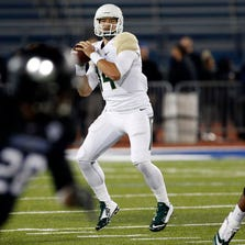 Baylor Bears quarterback Bryce Petty (14) drops to pass during the first half against the Buffalo Bulls at University of Buffalo Stadium on September 12, 2014.