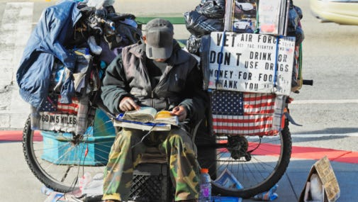 A homelesss man with all possessions on a bicycle in San Francisco, Calif.