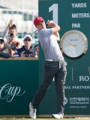 Jordan Spieth tees off on the first hole during a practice