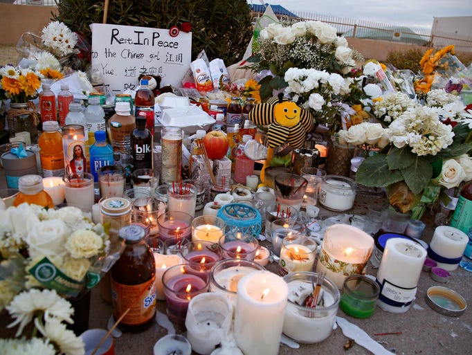 A roadside memorial to Chinese student Yue Jiang, who