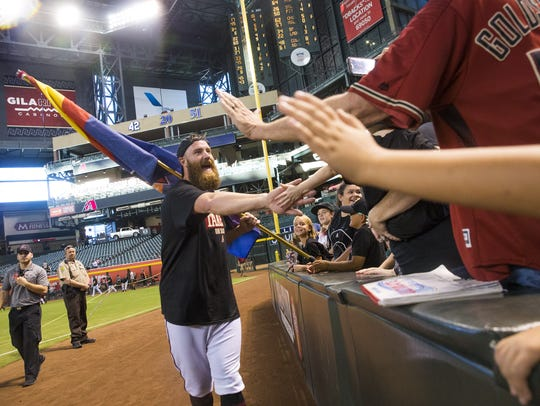 Diamondbacks reliever Archie Bradley celebrates with