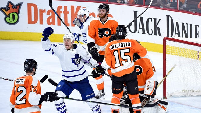 Toronto Maple Leafs center Shawn Matthias (23) reacts after goal was scored with eight seconds left by Toronto Maple Leafs defenseman Matt Hunwick (2) (not pictured) during the third period against the Philadelphia Flyers at Wells Fargo Center.