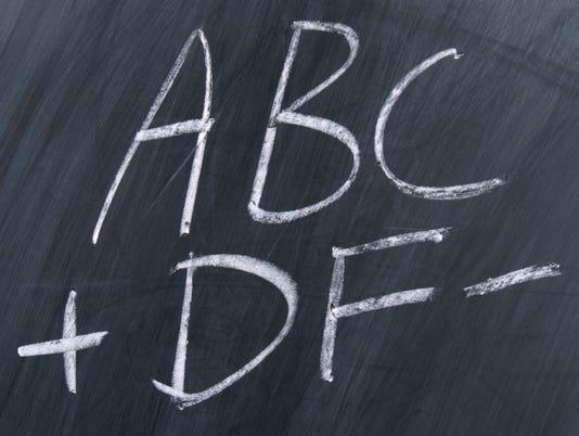 Grades on chalkboard