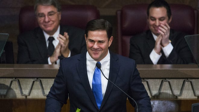 Gov. Doug Ducey delivers his State of the State address on Jan. 9, 2017.