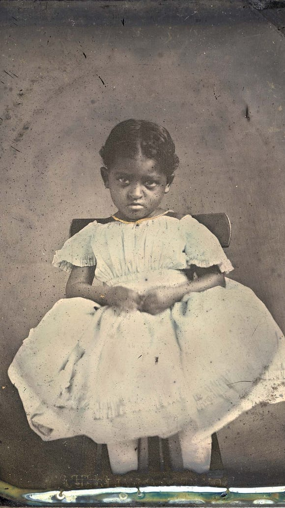 An unidentified African-American girl, possibly a slave, circa 1856.