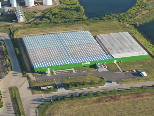 The exterior of the BrightFarms greenhouses to be built