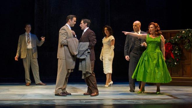 "A scene from Cincinnati Opera's world premiere production of Gregory Spears' and Greg Pierce's ""Fellow Travelers."" (Left to right:) Christian Pursell, Joseph Lattanzi, Aaron Blake, Talya Lieberman, Paul Scholten, Alexandra Schoeny."