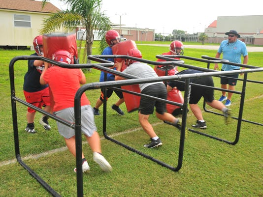 First day Cocoa Beach football practice