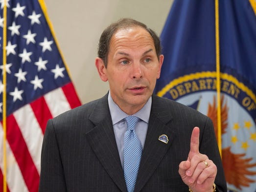 The new Secretary of Veterans Affairs, Robert McDonald, speaks during a press conference at the Carl T. Hayden VA Medical Center in Phoenix on Aug. 8, 2014.