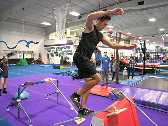 Franklin's Travis Rosen completed his eighth season of American Ninja Warrior. Rosen trains at Let It Shine on Sept. 13, 2017.