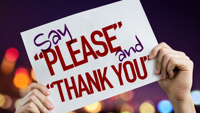 """Say """"Please"""" and """"Thank You"""" placard"""