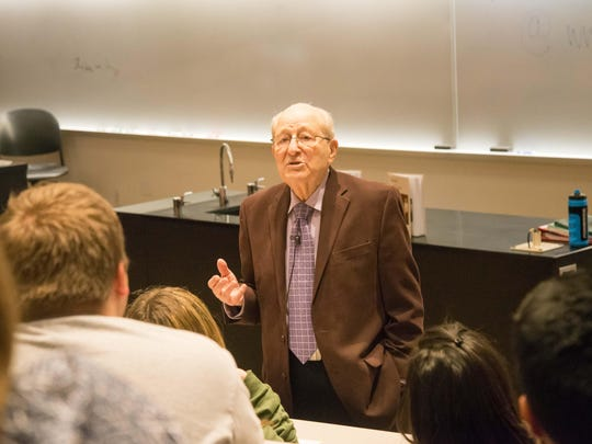 Holocaust survivor Irving Roth delivers a lecture to students recounting his story of loss, endurance, and perseverance in the Fisher Building of Florida State University on Monday Feb. 22, 2016.