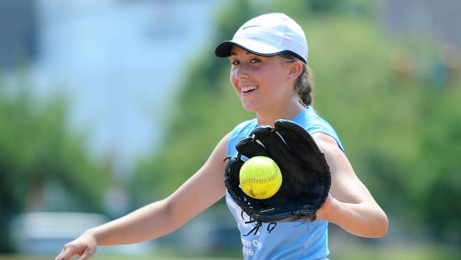 Delsea's Anastasia Reale smiles as pitches for Tri-Cape against Delaware South in a Carpenter Cup softball game at FDR Park in Philadelphia, Pa, on Tuesday. 6.21.16. Joe Warner/For the Courier-Post