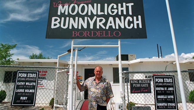 David B. Parker/Reno Gazette-Journal ... Dennis Hof stands in front of the Moonlite BunnyRanch before building renovations and the change to the spelling of Moonlight in Mound House on August 5, 1999.