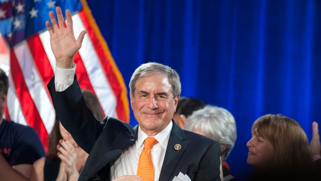 U.S. Reprentative John Yarmuth waves to his supporters at the Louisville election night headquarters of the Democratic Party at the downtown Marriott Hotel.  Yarmuth won reelection to his seat.08 November 2016