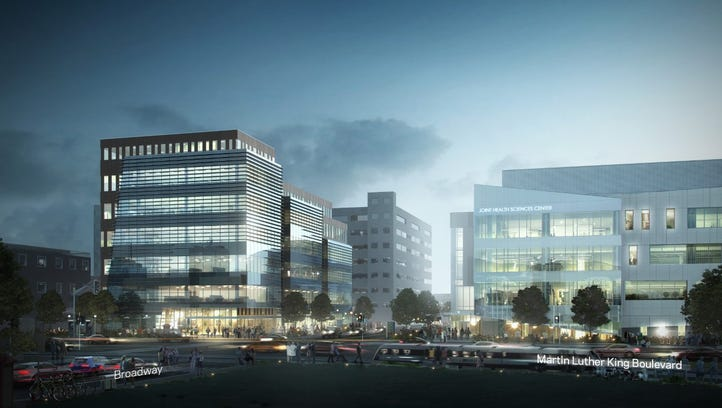 An artist's rendering shows a proposed health science campus on both sides of a downtown block of Broadway in Camden.